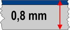 0,8 mm táblavastagság / 2 réteg