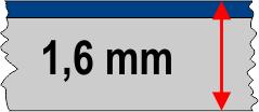 1,6 mm táblavastagság / 2 réteg