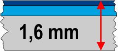 1,6 mm táblavastagság / 3 réteg